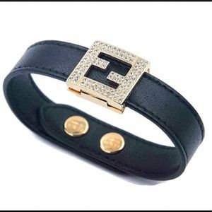 Fendi fendista Swarovski leather &crystal bracelet